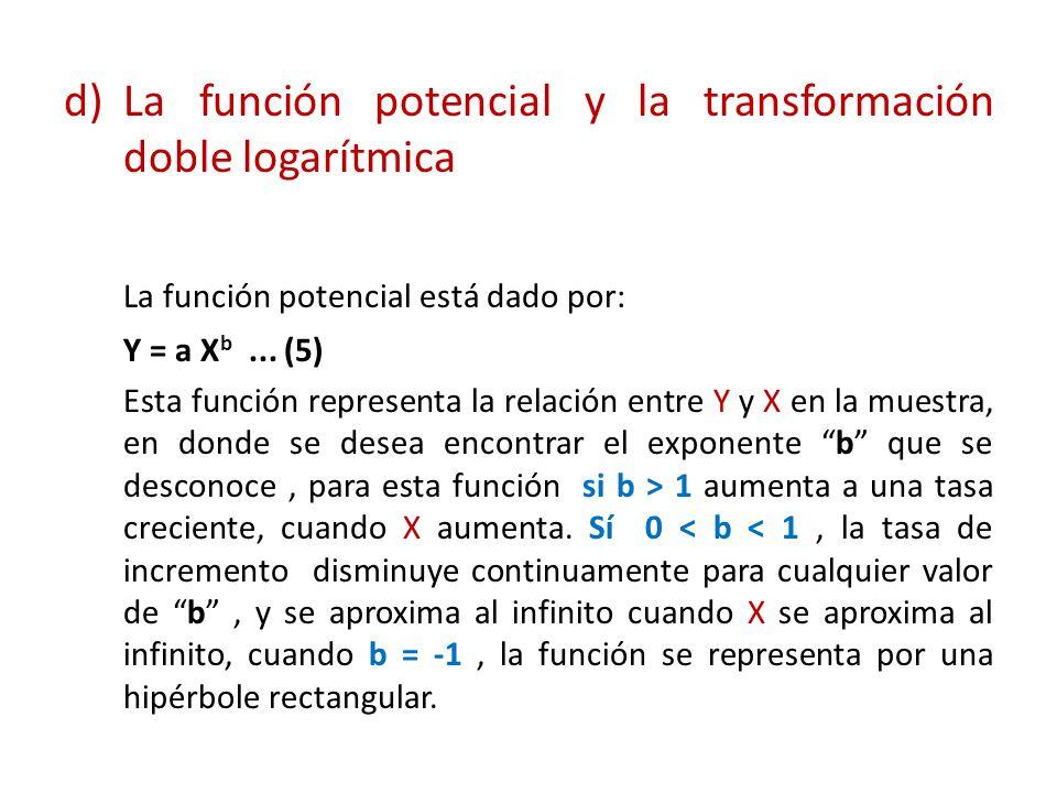 d)La función potencial y la transformación doble logarítmica La función potencial está dado por: Y = a X b... (5) Esta función representa la relación
