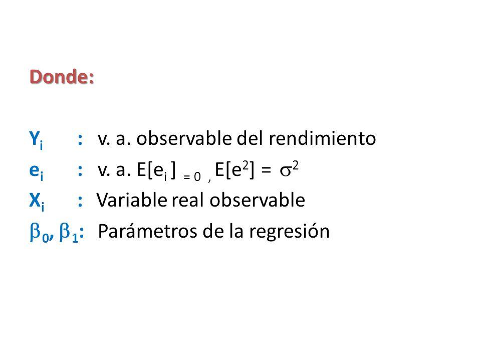 Donde: Y i : v. a. observable del rendimiento e i : v. a. E[e i ] = 0, E[e 2 ] = 2 X i : Variable real observable 0, 1 : Parámetros de la regresión