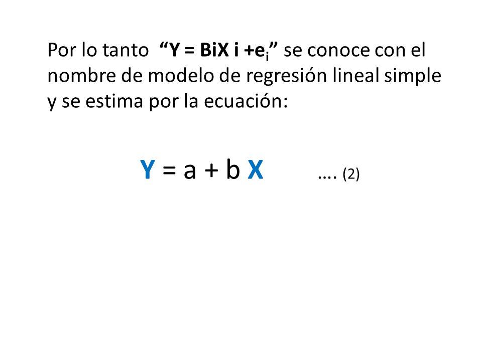Por lo tanto Y = BiX i +e i se conoce con el nombre de modelo de regresión lineal simple y se estima por la ecuación: Y = a + b X …. (2)