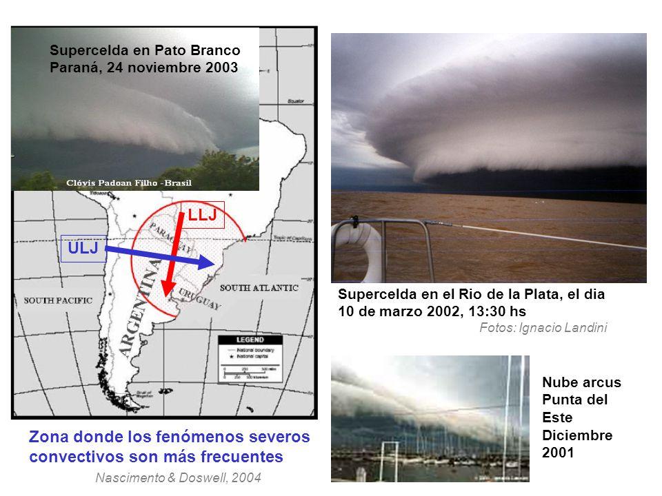 Supercelda en el Rio de la Plata, el dia 10 de marzo 2002, 13:30 hs Fotos: Ignacio Landini Nube arcus Punta del Este Diciembre 2001 Zona donde los fen