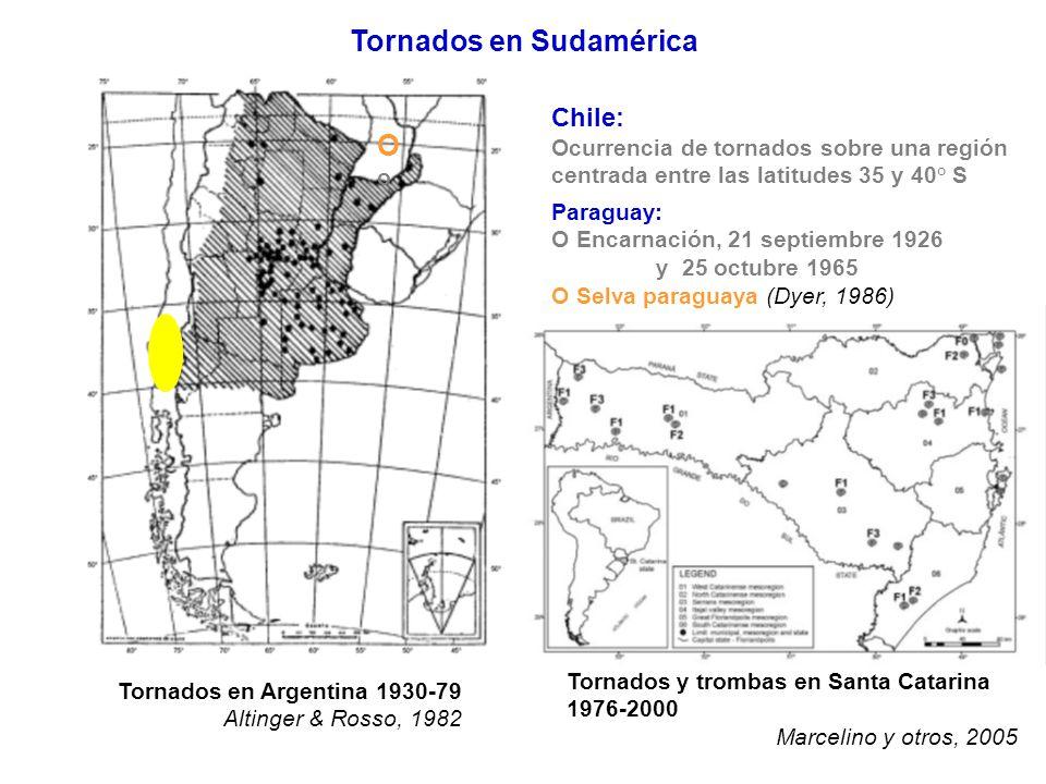 Tornados en Argentina 1930-79 Altinger & Rosso, 1982 Tornados y trombas en Santa Catarina 1976-2000 Marcelino y otros, 2005 Tornados en Sudamérica Chi