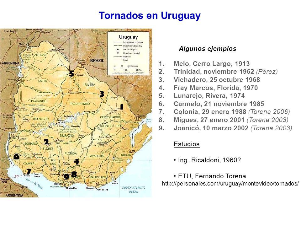 1.Melo, Cerro Largo, 1913 2.Trinidad, noviembre 1962 (Pérez) 3.Vichadero, 25 octubre 1968 4.Fray Marcos, Florida, 1970 5.Lunarejo, Rivera, 1974 6.Carm