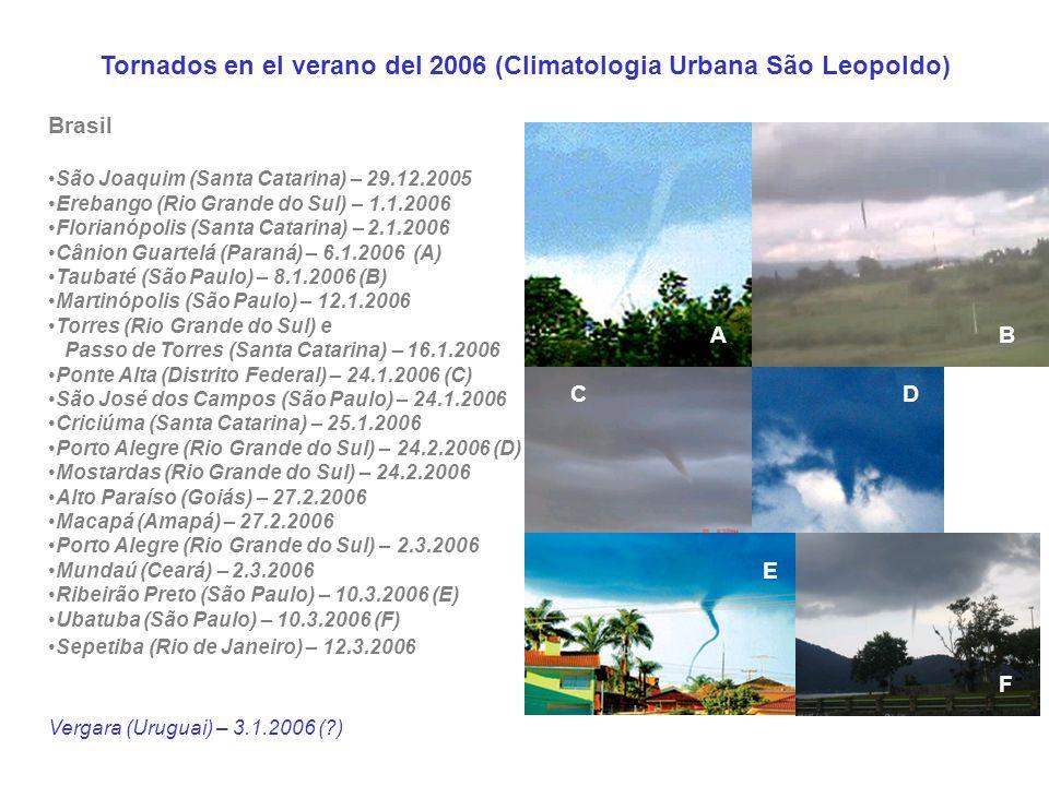Tornados en el verano del 2006 (Climatologia Urbana São Leopoldo) Brasil São Joaquim (Santa Catarina) – 29.12.2005 Erebango (Rio Grande do Sul) – 1.1.