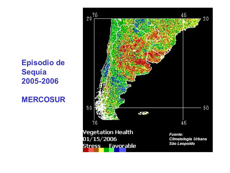 Episodio de Sequía 2005-2006 MERCOSUR Fuente: Climatología Urbana São Leopoldo