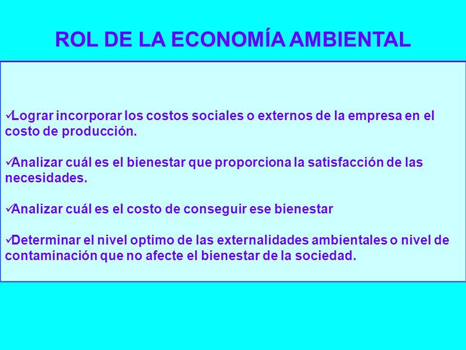 Lograr incorporar los costos sociales o externos de la empresa en el costo de producción. Analizar cuál es el bienestar que proporciona la satisfacció