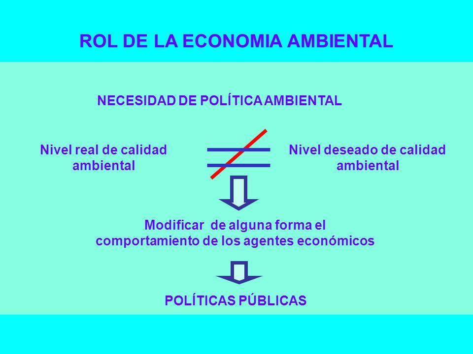 NECESIDAD DE POLÍTICA AMBIENTAL Nivel real de calidad ambiental Nivel deseado de calidad ambiental Modificar de alguna forma el comportamiento de los