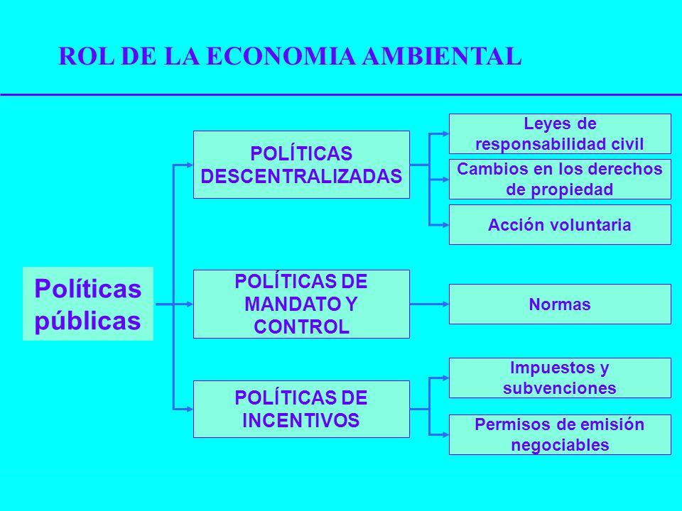 Políticas públicas POLÍTICAS DESCENTRALIZADAS POLÍTICAS DE MANDATO Y CONTROL POLÍTICAS DE INCENTIVOS Leyes de responsabilidad civil Cambios en los der