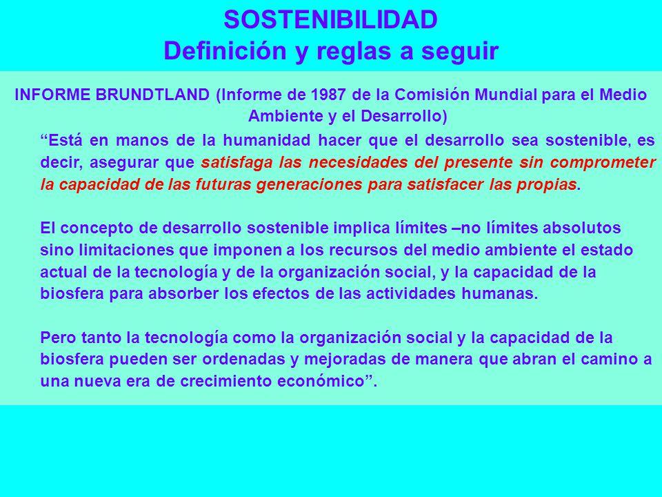 SOSTENIBILIDAD Definición y reglas a seguir INFORME BRUNDTLAND (Informe de 1987 de la Comisión Mundial para el Medio Ambiente y el Desarrollo) Está en