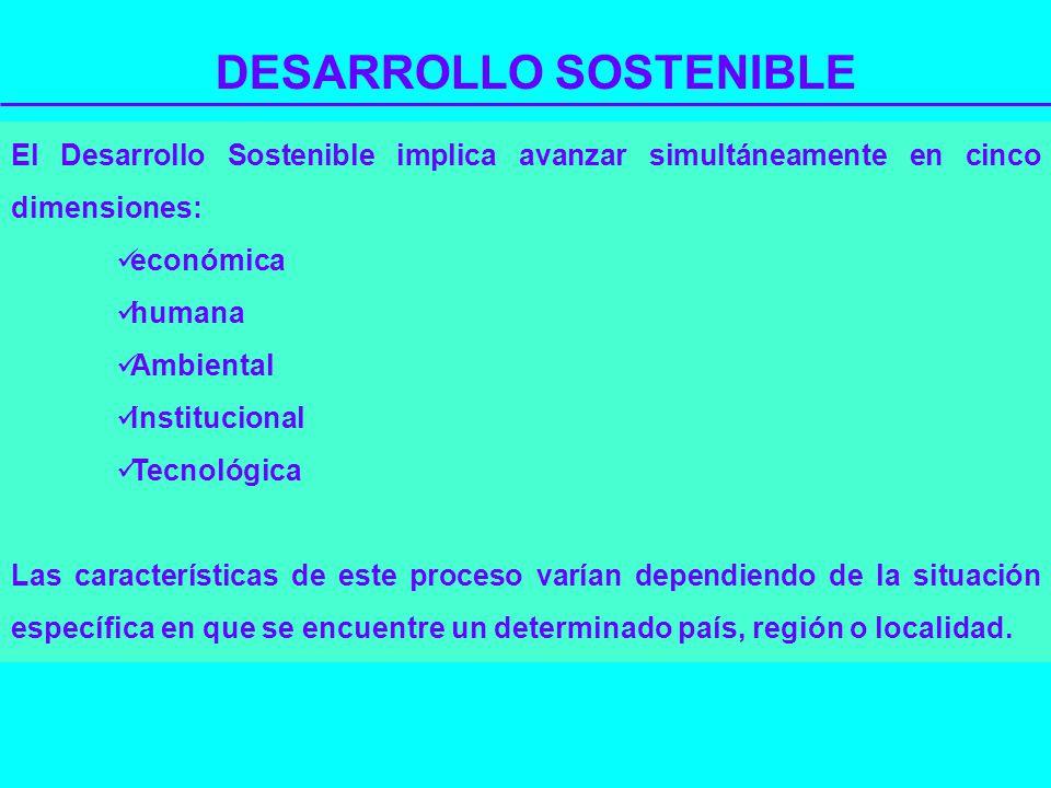DESARROLLO SOSTENIBLE El Desarrollo Sostenible implica avanzar simultáneamente en cinco dimensiones: económica humana Ambiental Institucional Tecnológ