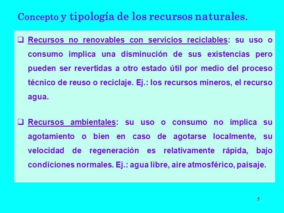 Recursos no renovables con servicios reciclables: su uso o consumo implica una disminución de sus existencias pero pueden ser revertidas a otro estado