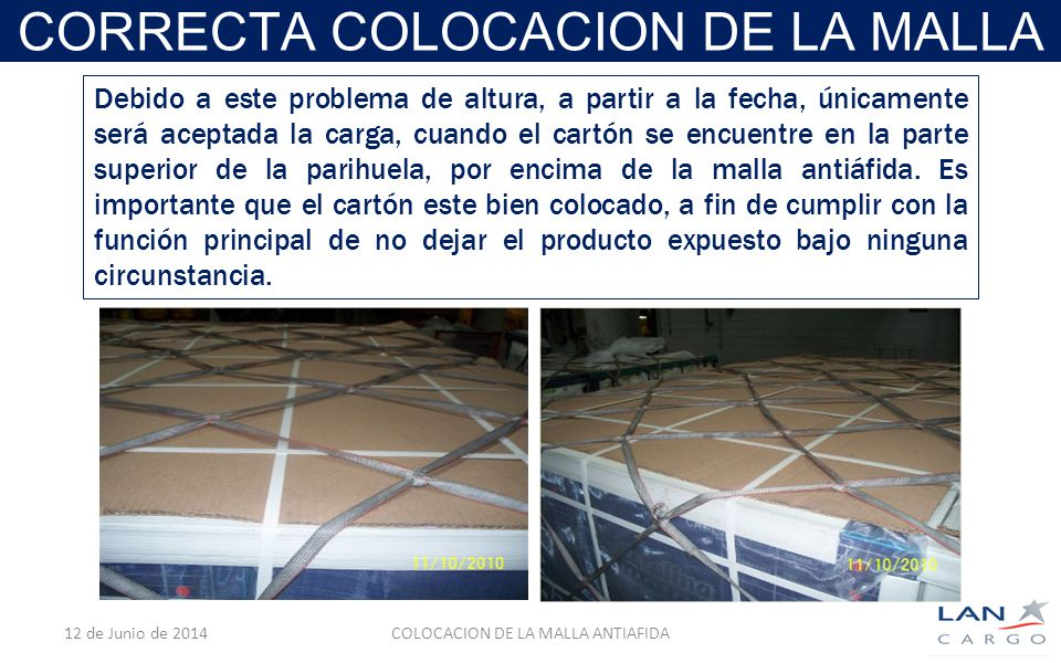 CORRECTA COLOCACION DE LA MALLA 12 de Junio de 2014COLOCACION DE LA MALLA ANTIAFIDA Debido a este problema de altura, a partir a la fecha, únicamente será aceptada la carga, cuando el cartón se encuentre en la parte superior de la parihuela, por encima de la malla antiáfida.