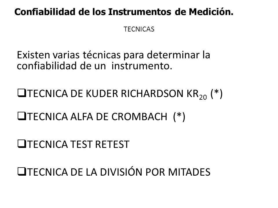 Confiabilidad de los Instrumentos de Medición. TECNICAS Existen varias técnicas para determinar la confiabilidad de un instrumento. TECNICA DE KUDER R