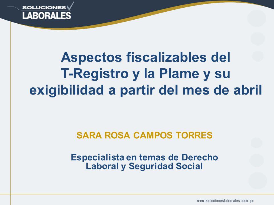 Aspectos fiscalizables del T-Registro y la Plame y su exigibilidad a partir del mes de abril SARA ROSA CAMPOS TORRES Especialista en temas de Derecho Laboral y Seguridad Social