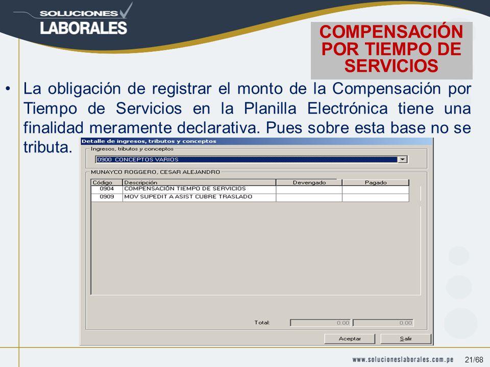 La obligación de registrar el monto de la Compensación por Tiempo de Servicios en la Planilla Electrónica tiene una finalidad meramente declarativa.