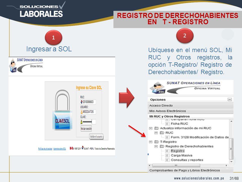 Ingresar a SOL 1 1 2 2 Ubíquese en el menú SOL, Mi RUC y Otros registros, la opción T-Registro/ Registro de Derechohabientes/ Registro.