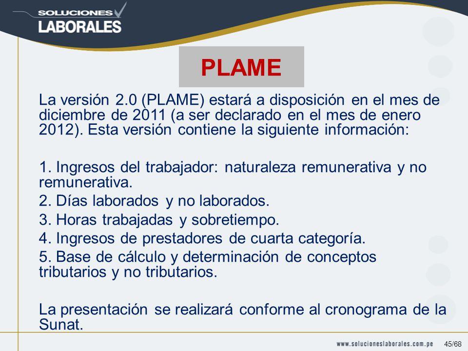 La versión 2.0 (PLAME) estará a disposición en el mes de diciembre de 2011 (a ser declarado en el mes de enero 2012).