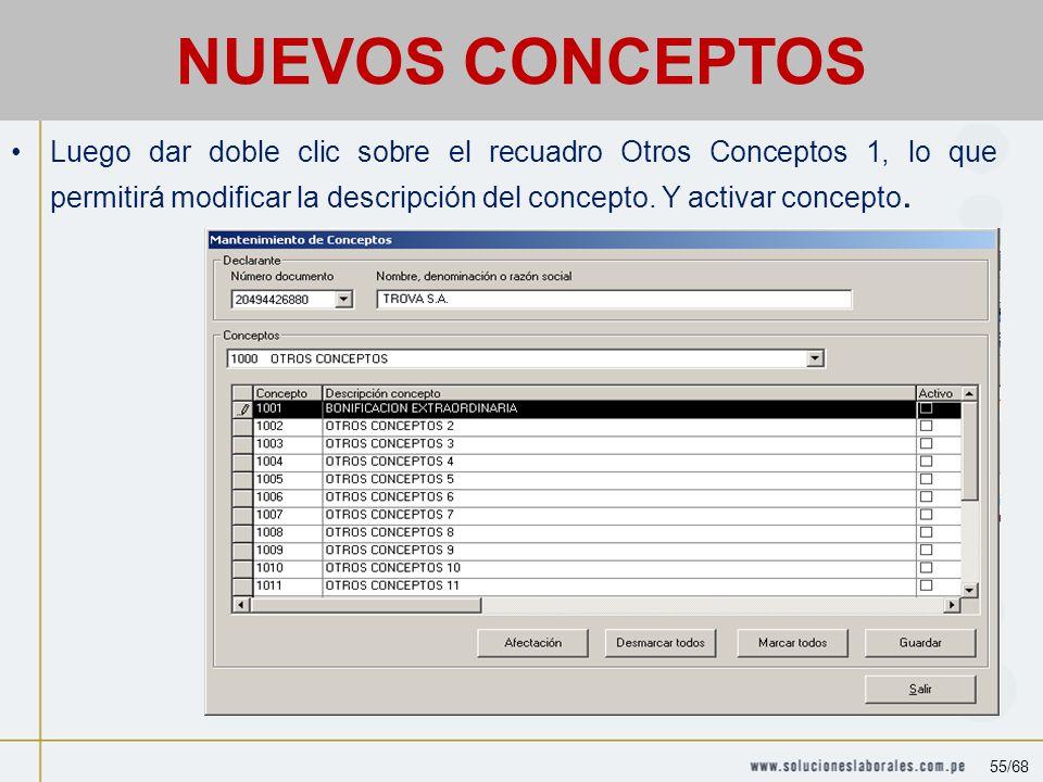 Luego dar doble clic sobre el recuadro Otros Conceptos 1, lo que permitirá modificar la descripción del concepto.