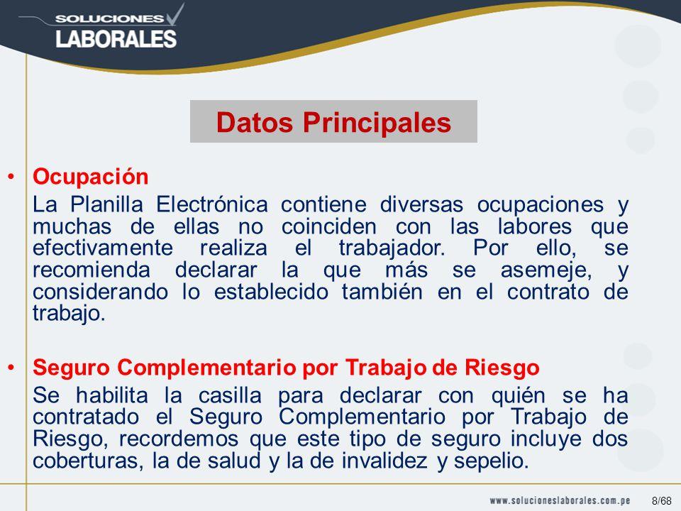 Ocupación La Planilla Electrónica contiene diversas ocupaciones y muchas de ellas no coinciden con las labores que efectivamente realiza el trabajador.