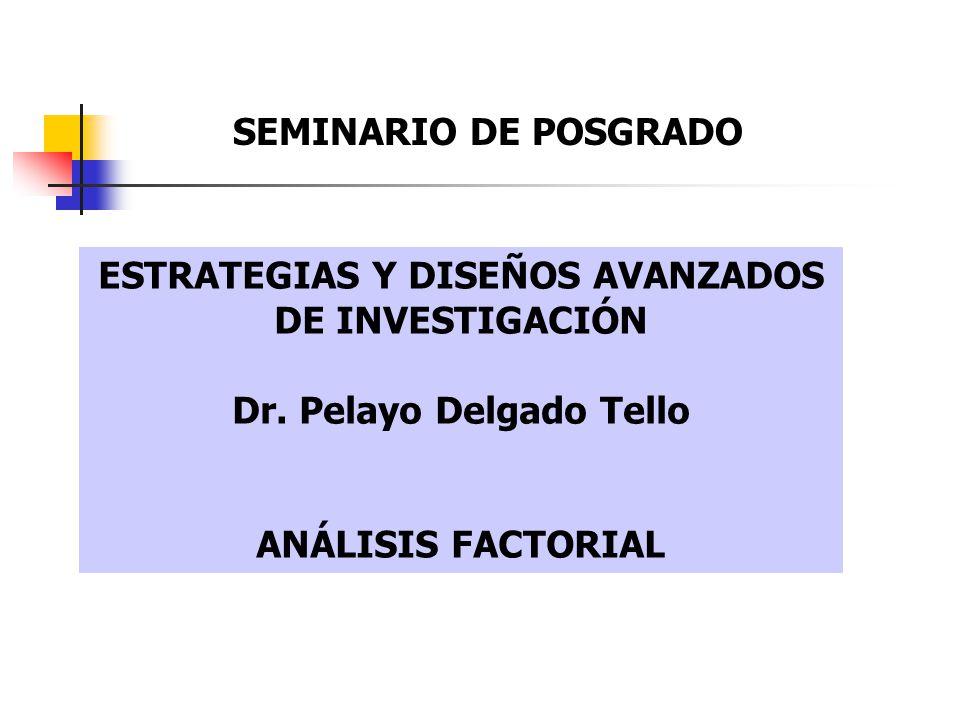 ESTRATEGIAS Y DISEÑOS AVANZADOS DE INVESTIGACIÓN Dr. Pelayo Delgado Tello ANÁLISIS FACTORIAL SEMINARIO DE POSGRADO