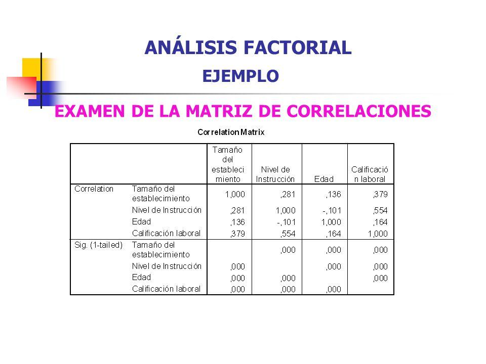 EXAMEN DE LA MATRIZ DE CORRELACIONES ANÁLISIS FACTORIAL EJEMPLO