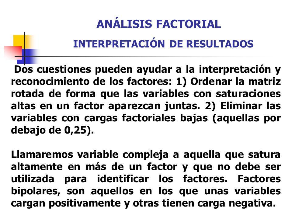 Dos cuestiones pueden ayudar a la interpretación y reconocimiento de los factores: 1) Ordenar la matriz rotada de forma que las variables con saturaci