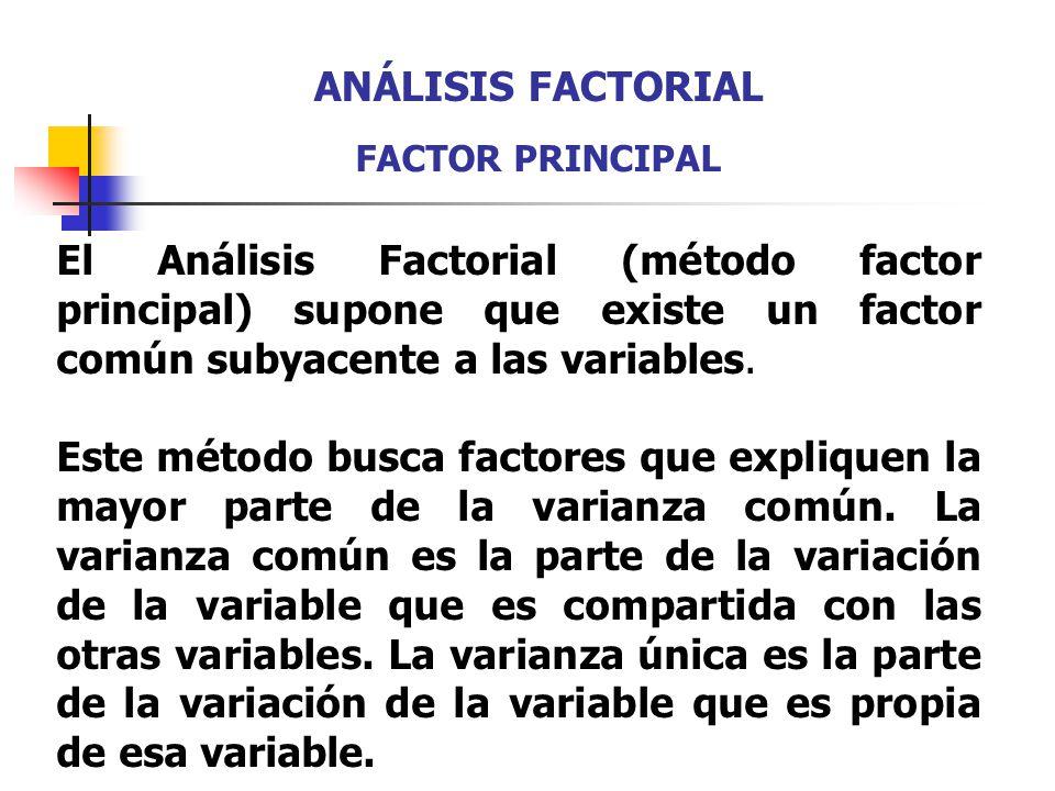 El Análisis Factorial (método factor principal) supone que existe un factor común subyacente a las variables. Este método busca factores que expliquen