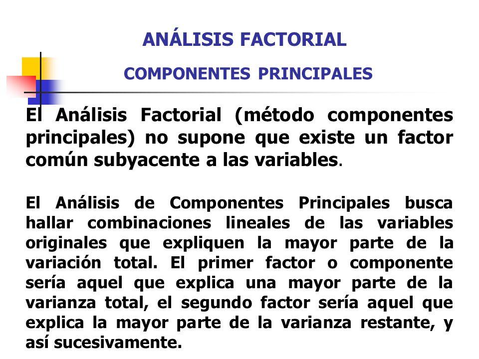 El Análisis Factorial (método componentes principales) no supone que existe un factor común subyacente a las variables. El Análisis de Componentes Pri