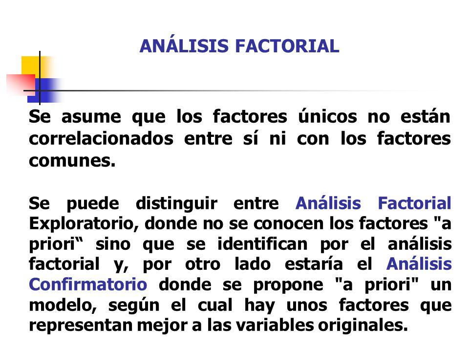 Se asume que los factores únicos no están correlacionados entre sí ni con los factores comunes. Se puede distinguir entre Análisis Factorial Explorato