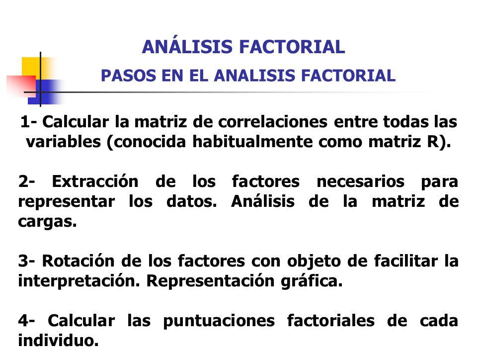 1- Calcular la matriz de correlaciones entre todas las variables (conocida habitualmente como matriz R). 2- Extracción de los factores necesarios para