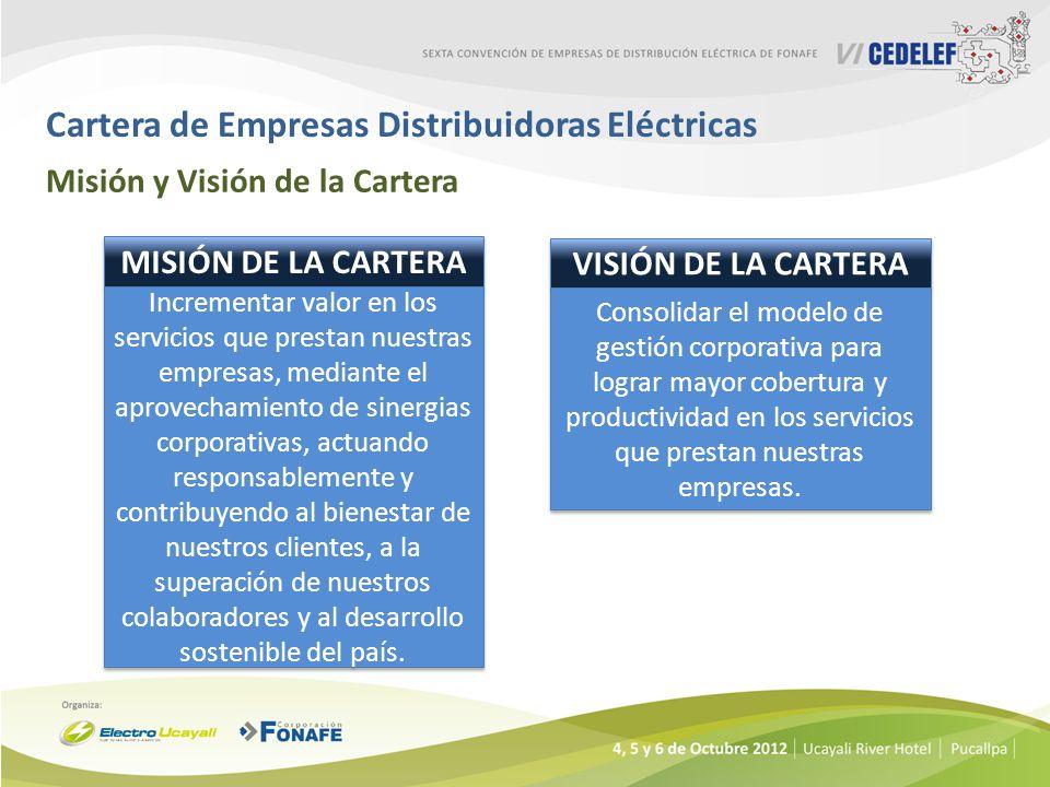 Cartera de Empresas Distribuidoras Eléctricas Misión y Visión de la Cartera MISIÓN DE LA CARTERA Incrementar valor en los servicios que prestan nuestr