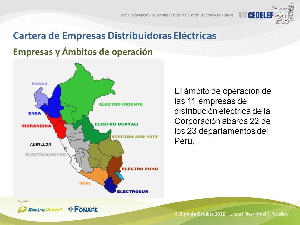 Cartera de Empresas Distribuidoras Eléctricas Empresas y Ámbitos de operación ADINELSA El ámbito de operación de las 11 empresas de distribución eléct
