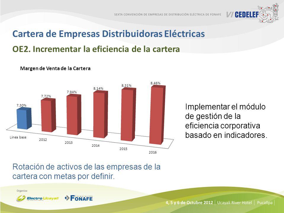 Cartera de Empresas Distribuidoras Eléctricas OE2. Incrementar la eficiencia de la cartera Implementar el módulo de gestión de la eficiencia corporati