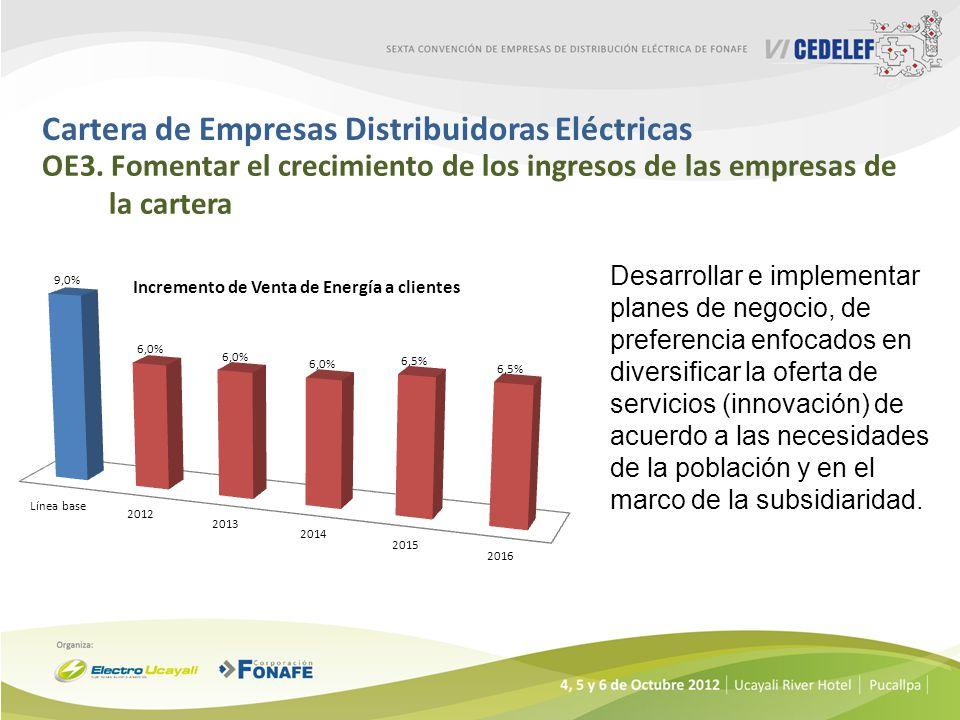 Cartera de Empresas Distribuidoras Eléctricas OE3. Fomentar el crecimiento de los ingresos de las empresas de la cartera Desarrollar e implementar pla