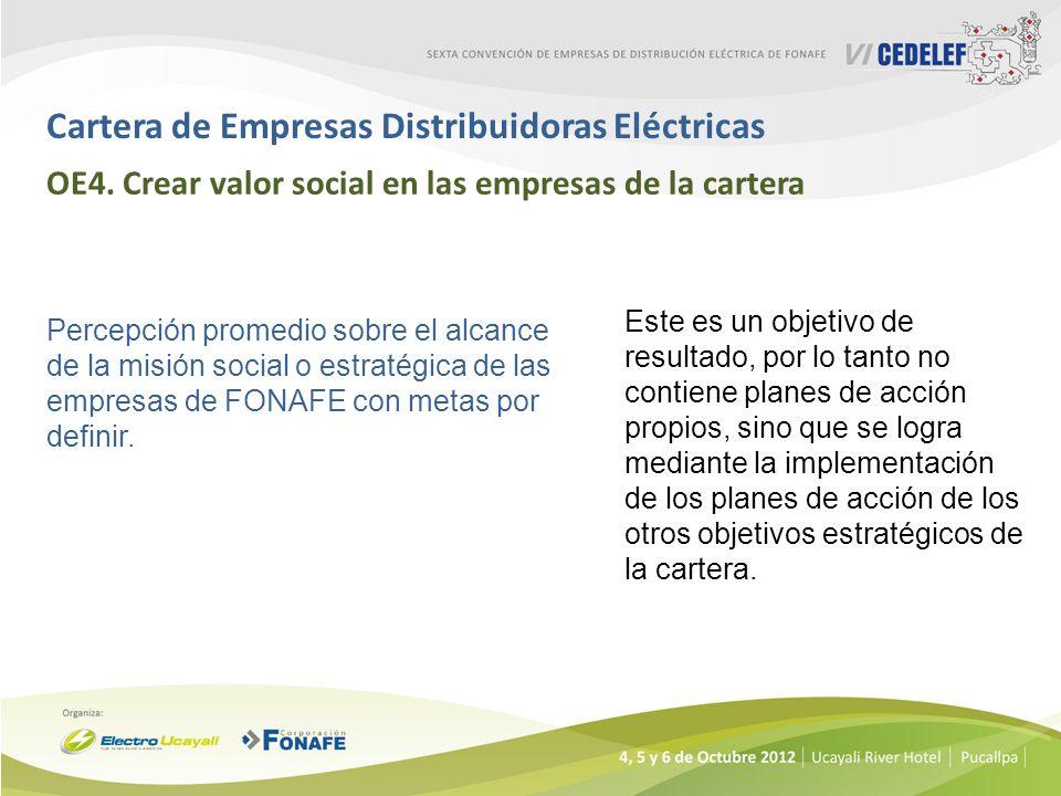 Cartera de Empresas Distribuidoras Eléctricas OE4. Crear valor social en las empresas de la cartera Percepción promedio sobre el alcance de la misión