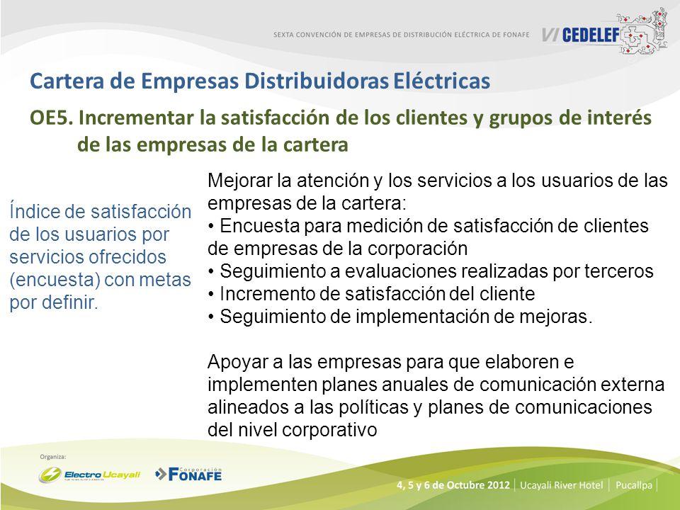 Cartera de Empresas Distribuidoras Eléctricas OE5. Incrementar la satisfacción de los clientes y grupos de interés de las empresas de la cartera Índic