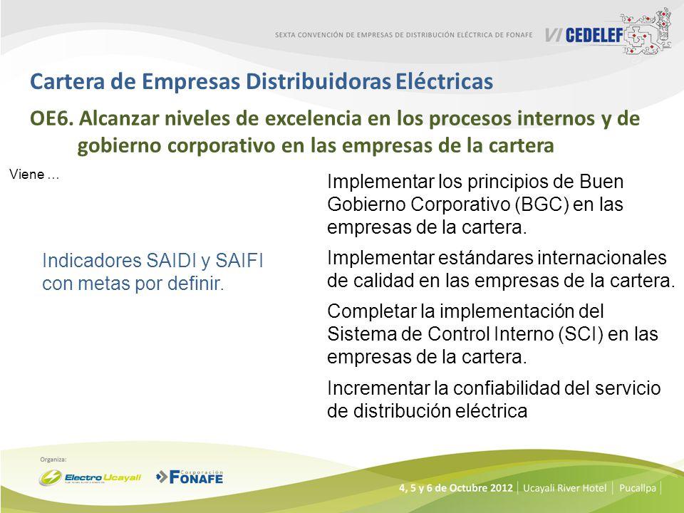 Cartera de Empresas Distribuidoras Eléctricas OE6. Alcanzar niveles de excelencia en los procesos internos y de gobierno corporativo en las empresas d