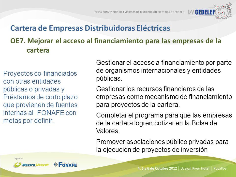 Cartera de Empresas Distribuidoras Eléctricas OE7. Mejorar el acceso al financiamiento para las empresas de la cartera Proyectos co-financiados con ot