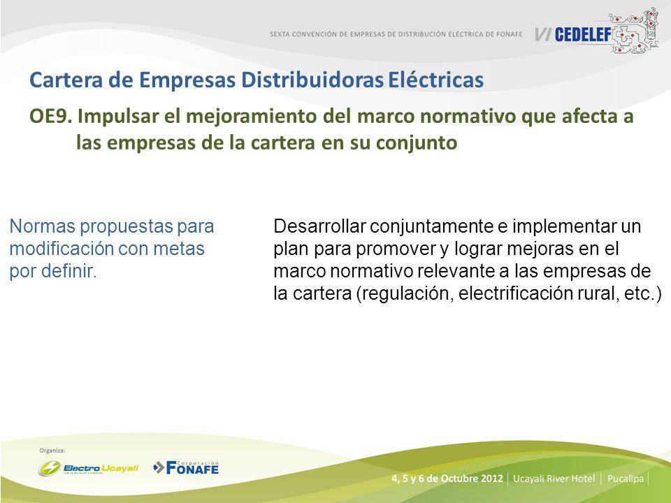 Cartera de Empresas Distribuidoras Eléctricas OE9. Impulsar el mejoramiento del marco normativo que afecta a las empresas de la cartera en su conjunto