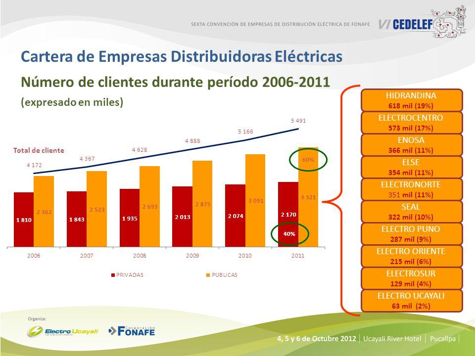 Cartera de Empresas Distribuidoras Eléctricas Número de clientes durante período 2006-2011 (expresado en miles) ELECTROCENTRO 573 mil (17%) ELSE 354 m