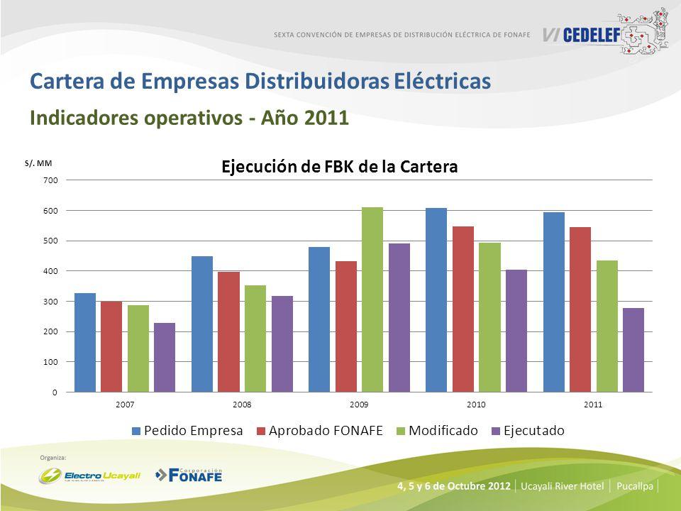 Cartera de Empresas Distribuidoras Eléctricas Indicadores operativos - Año 2011