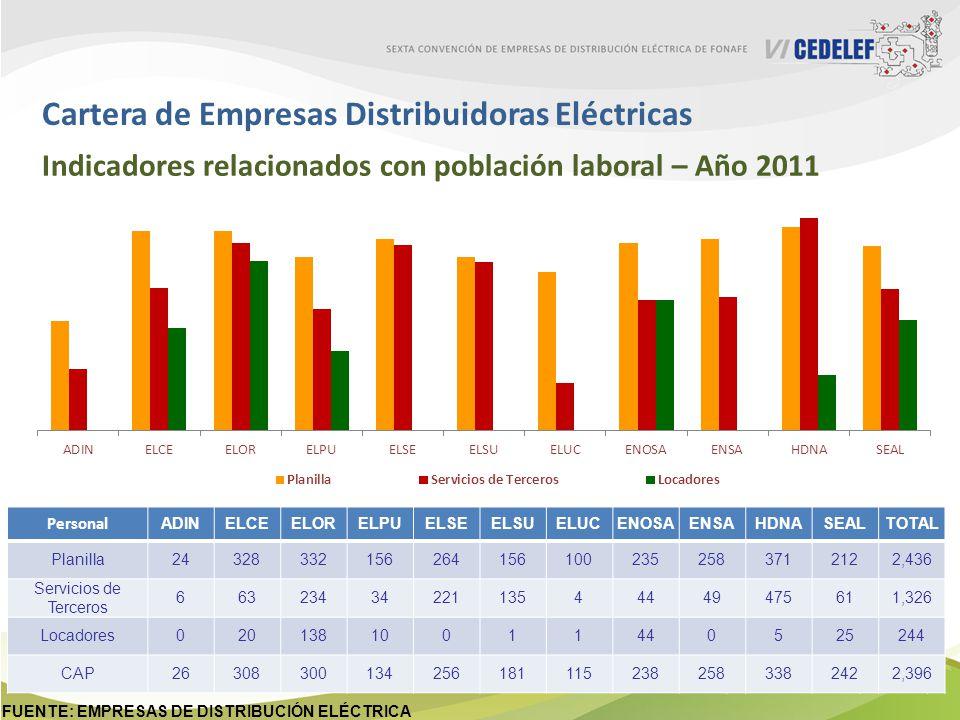 Cartera de Empresas Distribuidoras Eléctricas Indicadores relacionados con población laboral – Año 2011 Personal incluye trabajadores en planilla, locadores y servicio de terceros.