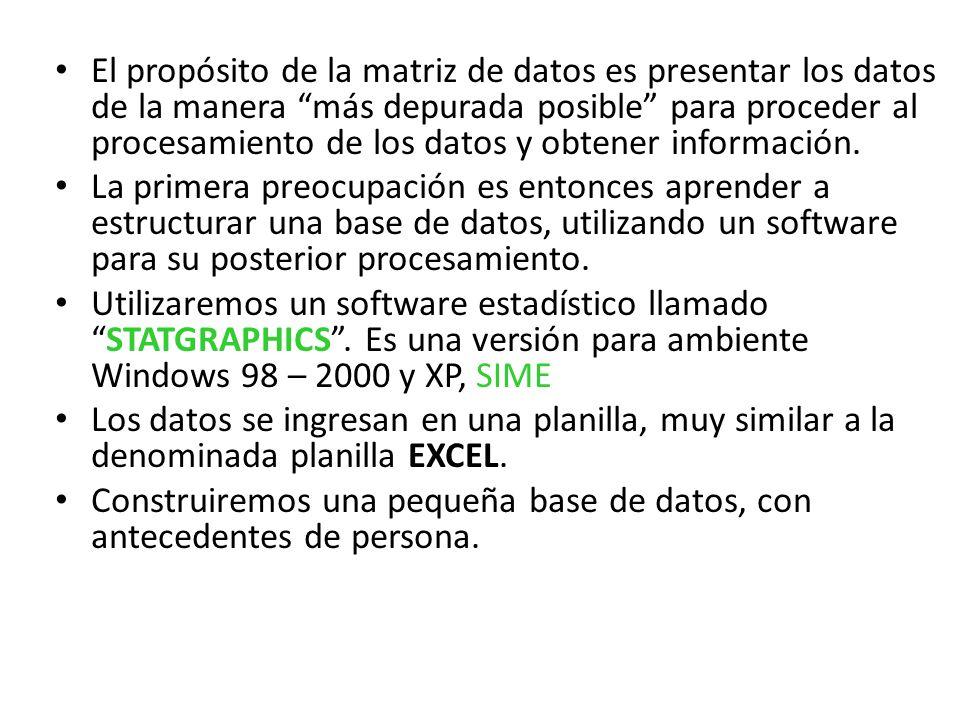 El propósito de la matriz de datos es presentar los datos de la manera más depurada posible para proceder al procesamiento de los datos y obtener info