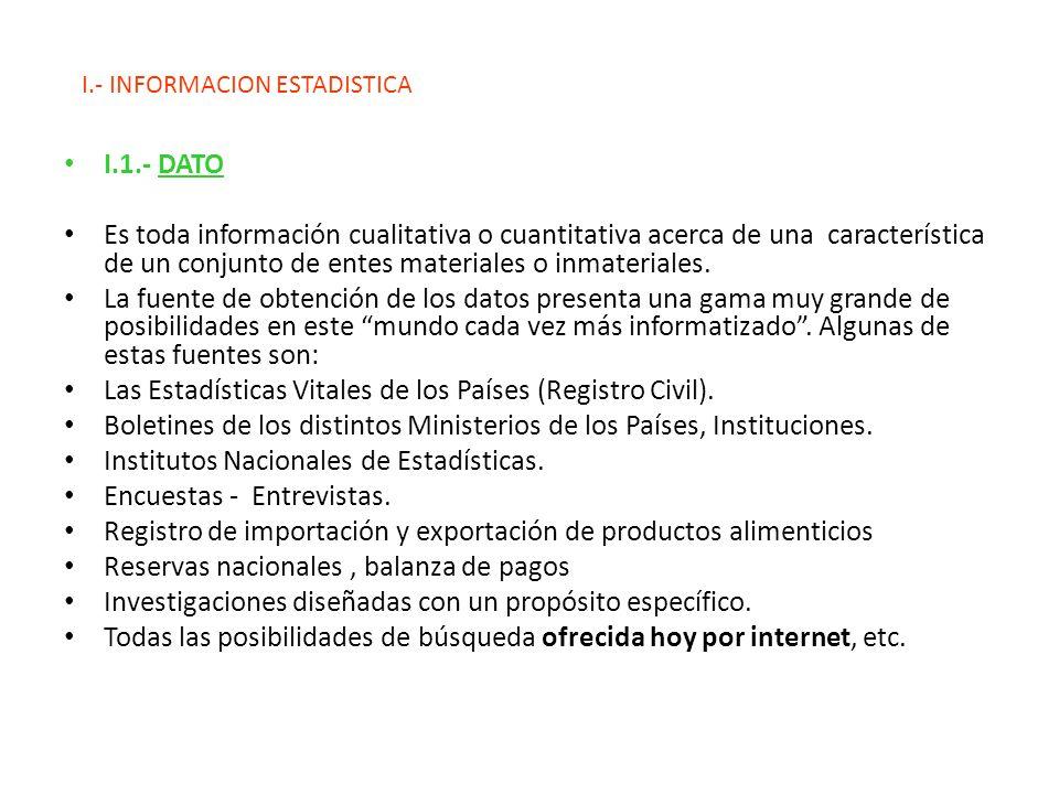 I.- INFORMACION ESTADISTICA I.1.- DATO Es toda información cualitativa o cuantitativa acerca de una característica de un conjunto de entes materiales