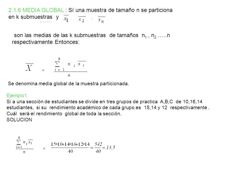 , : = Inv Log o = = 2.1.6 MEDIA GLOBAL : Sí una muestra de tamaño n se particiona en k submuestras y,, …….. son las medias de las k submuestras de tam