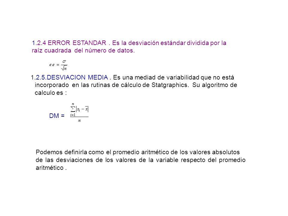 1.2.4 ERROR ESTANDAR. Es la desviación estándar dividida por la raíz cuadrada del número de datos. 1.2.5.DESVIACION MEDIA. Es una mediad de variabilid