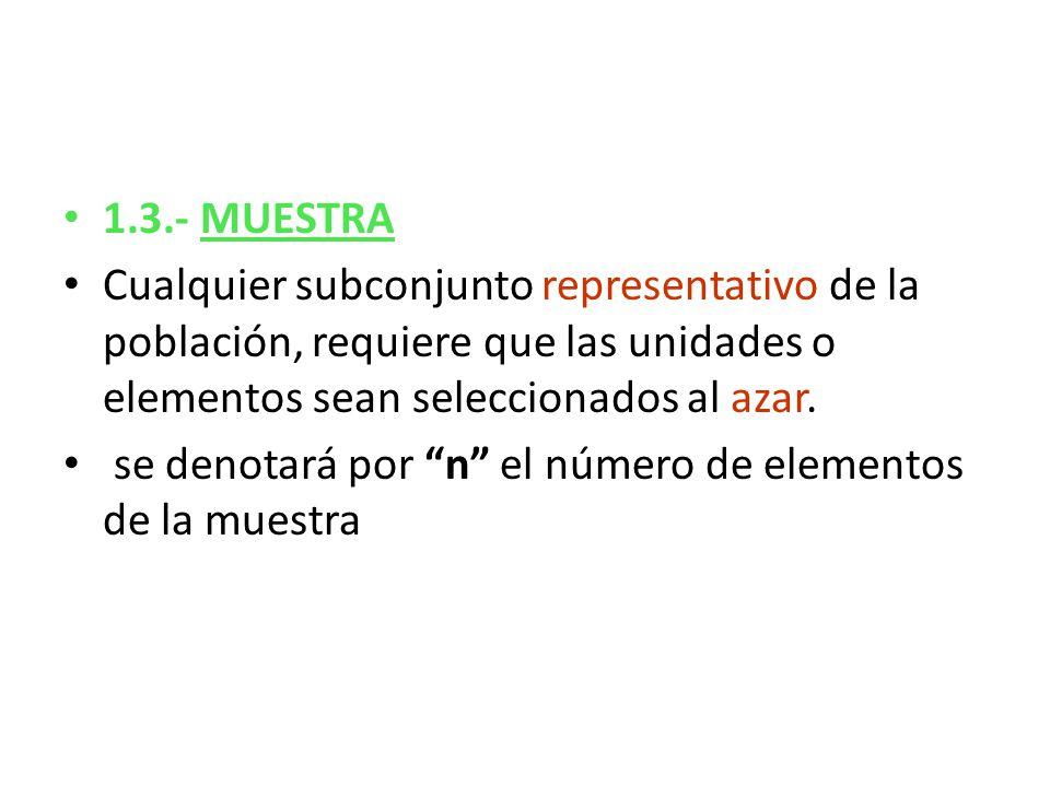 1.3.- MUESTRA Cualquier subconjunto representativo de la población, requiere que las unidades o elementos sean seleccionados al azar. se denotará por