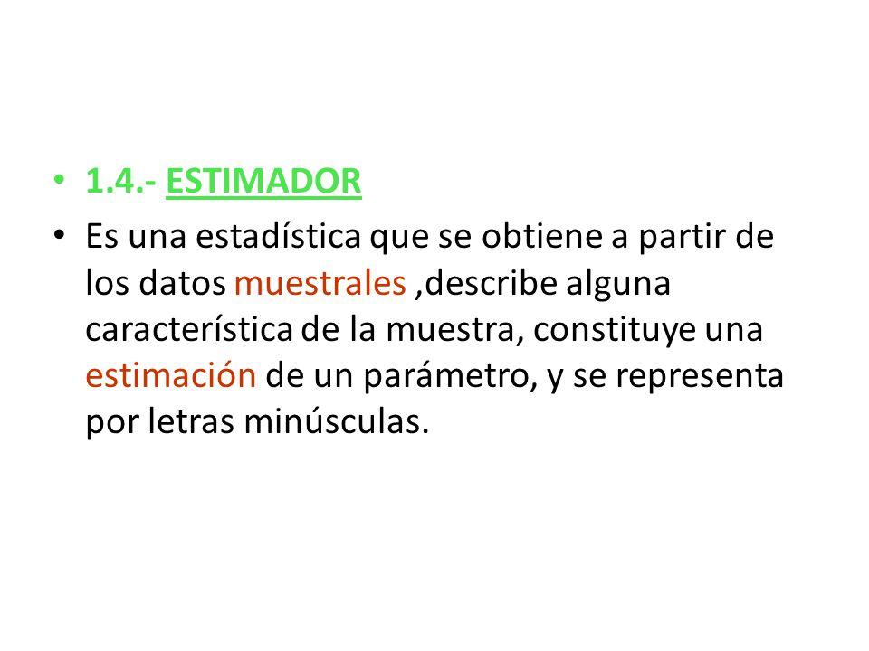 1.4.- ESTIMADOR Es una estadística que se obtiene a partir de los datos muestrales,describe alguna característica de la muestra, constituye una estima