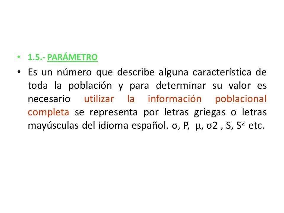 1.5.- PARÁMETRO Es un número que describe alguna característica de toda la población y para determinar su valor es necesario utilizar la información p