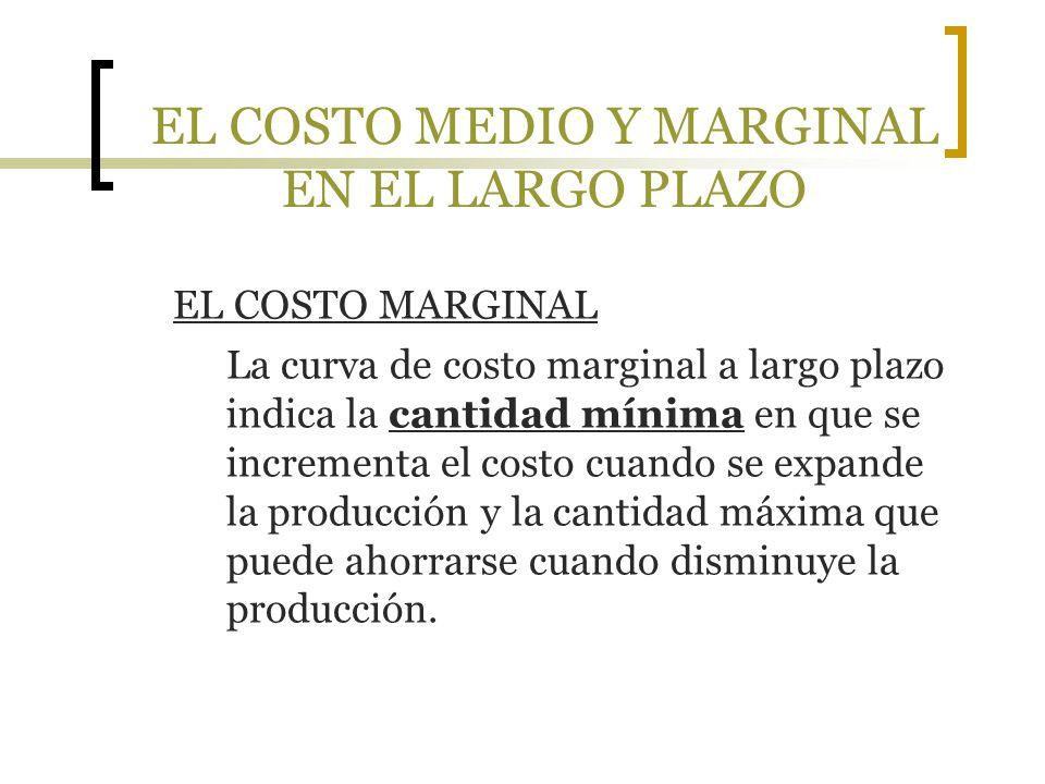 EL COSTO MEDIO Y MARGINAL EN EL LARGO PLAZO EL COSTO MARGINAL La curva de costo marginal a largo plazo indica la cantidad mínima en que se incrementa