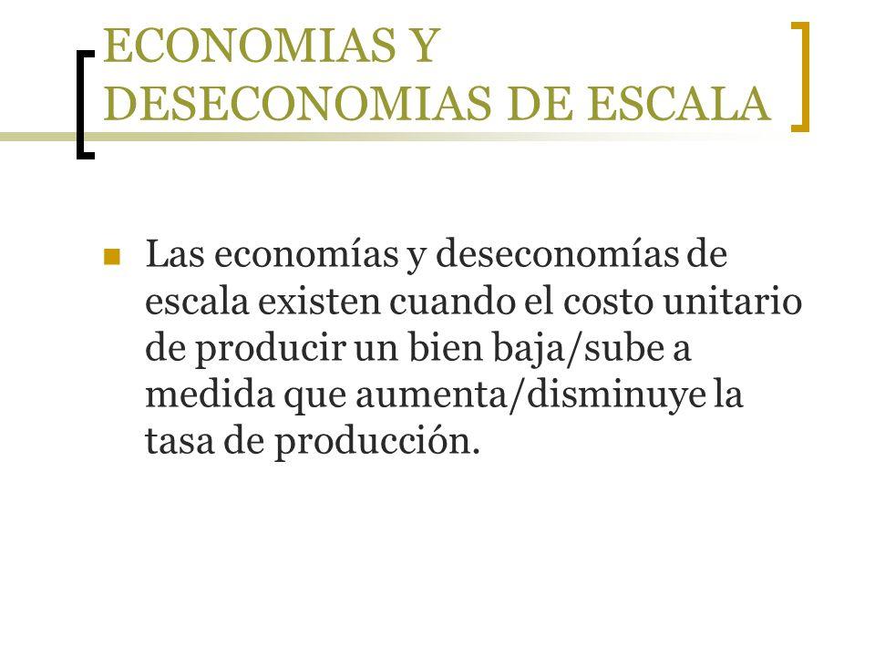 ECONOMIAS Y DESECONOMIAS DE ESCALA Las economías y deseconomías de escala existen cuando el costo unitario de producir un bien baja/sube a medida que